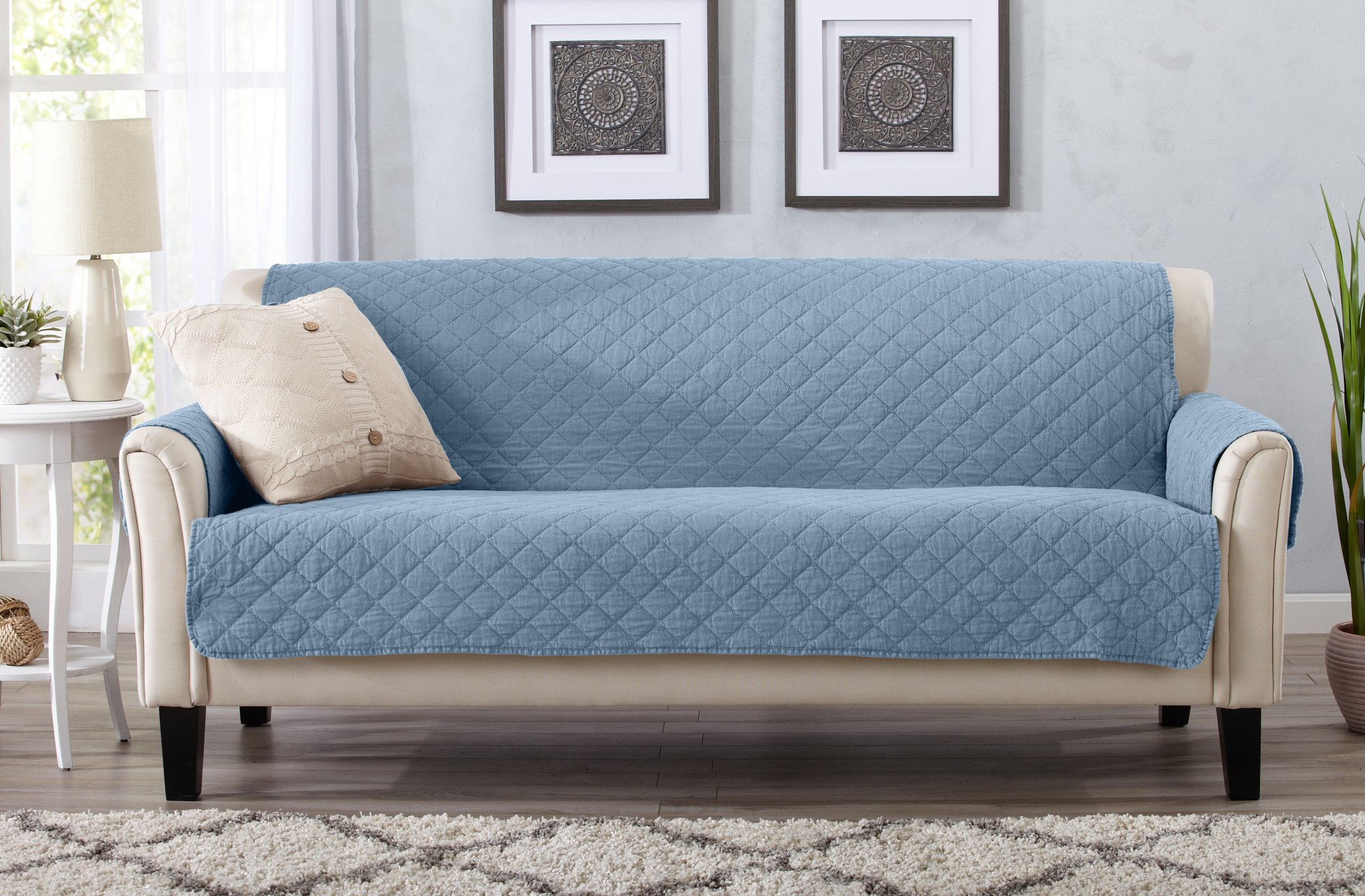 Great Bay Home Deluxe Stonewashed Stain Resistant Furniture Protector in Solid Colors. Laurina Collection By Brand. (Sofa, Delphium Blue)