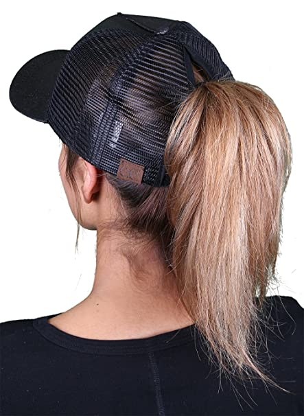 d00225a3402 H-209-06 Messy Bun Ponytail Hat - Glitter (Black) at Amazon Women s  Clothing store