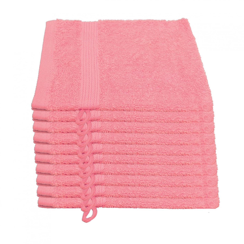 10er Pack Waschlappen Julie Julsen in 23 Farben erhältlich weich und saugstark 500gsm Öko Tex Pink 15 x 21 cm