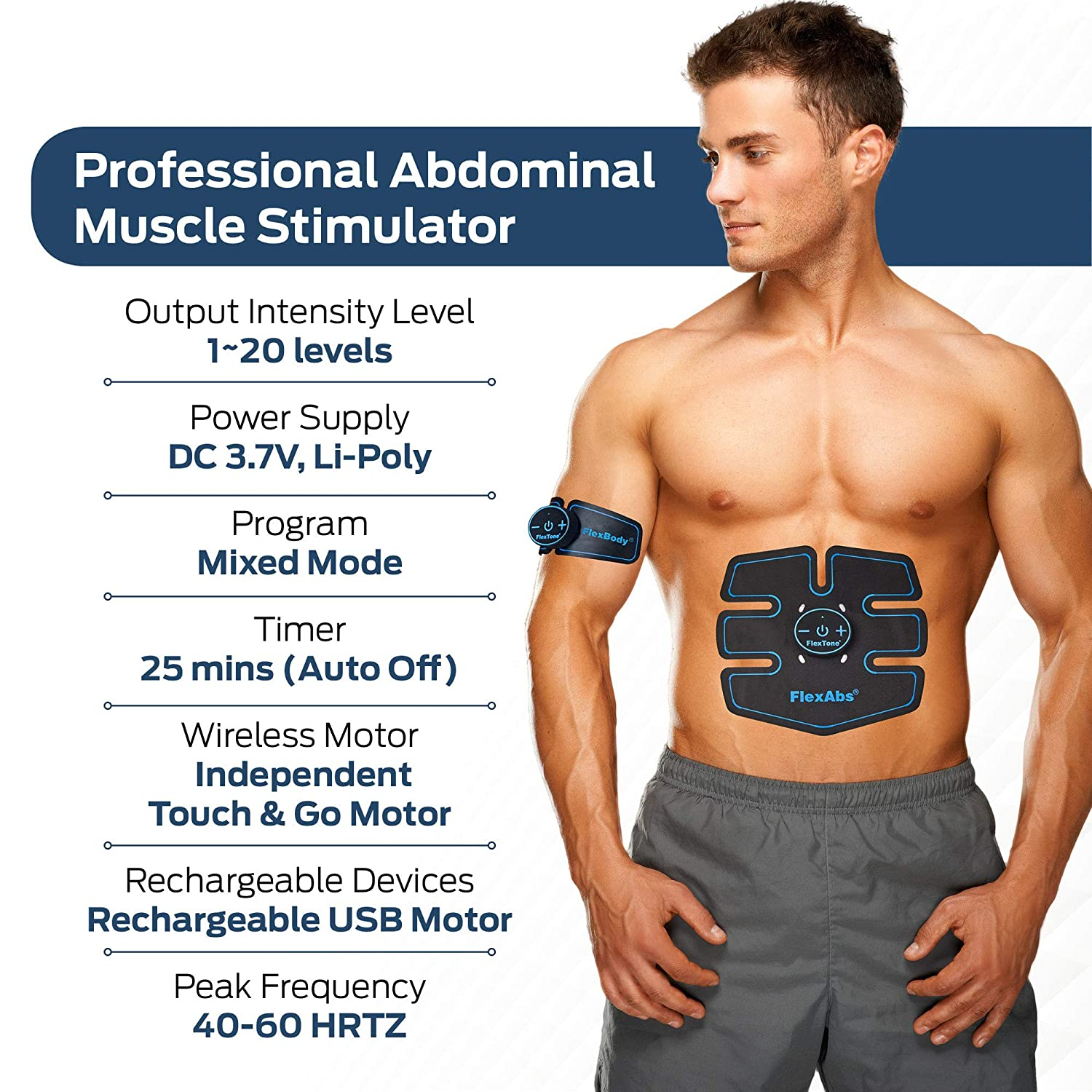 Flextone Abs Stimulator Muscle Toner - FDA 510K Cleared - Rechargeable  Wireless EMS Massager for Weight Loss - The Ultimate Electronic Power Ab