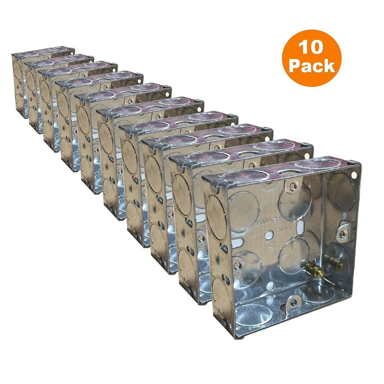 10 x Single Metal Back Box 25mm Flush Wall Pattress / 1 Gang Electrical Sockets Homesmart