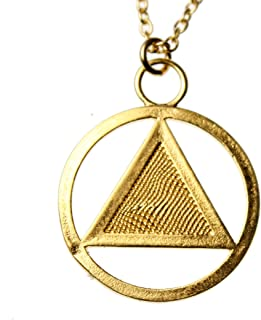 """product image for From War to Peace AA Symbol Gold-Dipped Pendant Necklace on 18"""" Rolo Chain"""