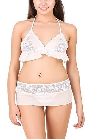PHWOAR Women Babydoll Night Dress Short Length Free Size White 1993b74c1