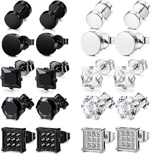 FIBO STEEL 5-10 Pairs Stainless Steel Black Stud Earrings for Men Women Huggie Earring Ear Piercing Set Hoop