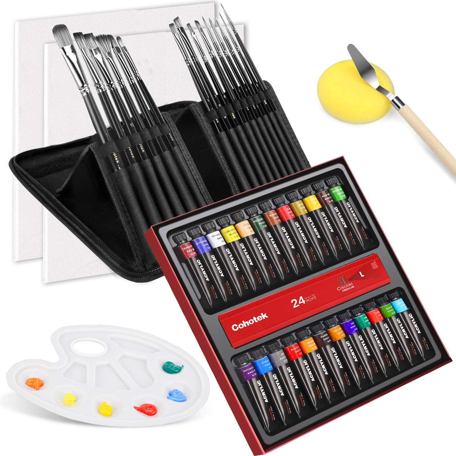 Acrylic Paints Set, Cohotek 44pcs Paint Art Supplies, Including 24 Colors,Premium 15PCS Paint Brushes,Mixing Scraper,Palette,Sponge and 2PCS Blank Art Canvas, Canvas Painting kit for Adults and Kids