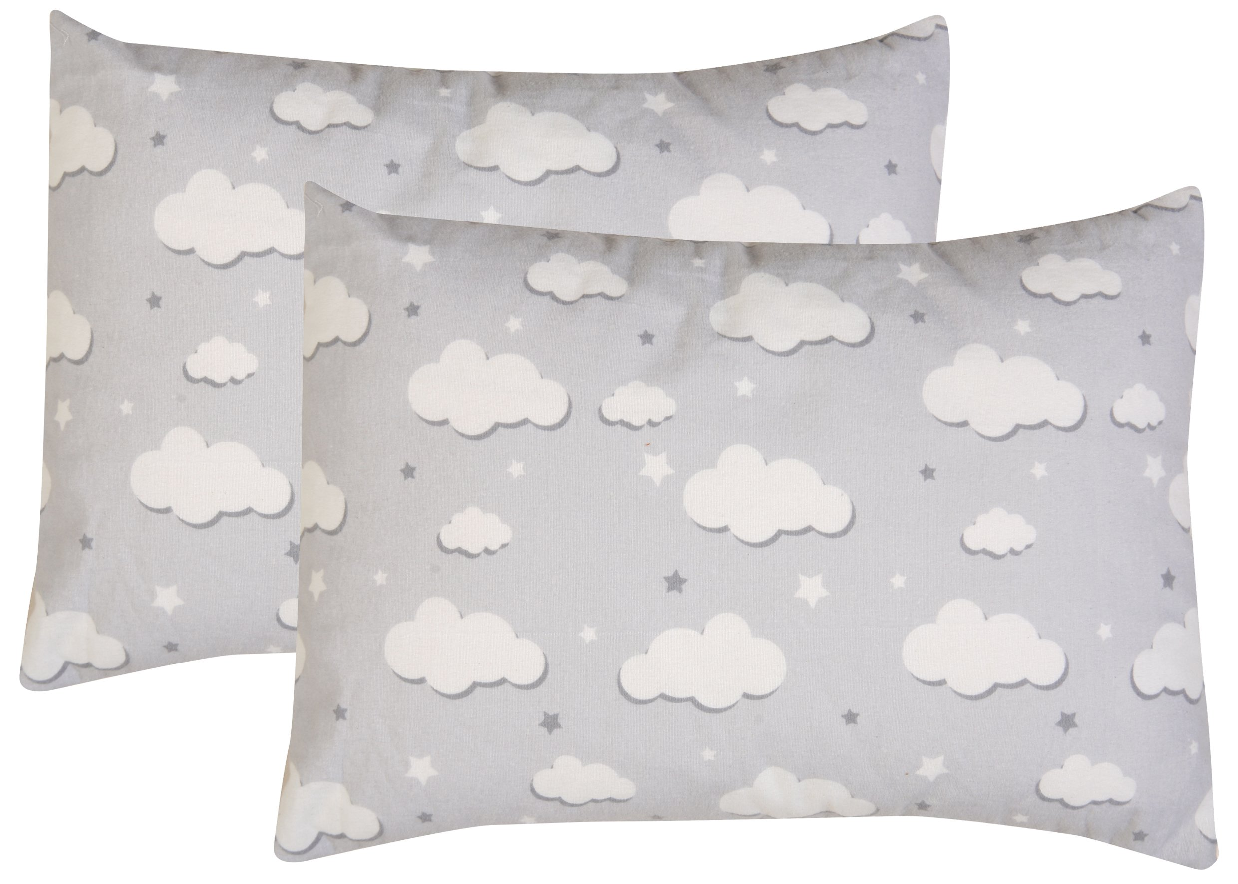 Toddler Pillowcase, 2 pack- Premium Cotton Flannel, SOFT & BREATHABLE, toddler pillowcase 13x18, Clouds