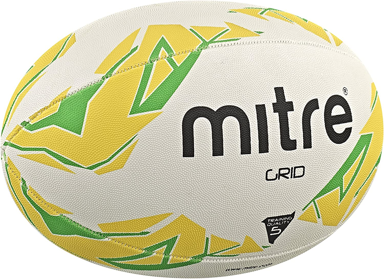Mitre Mens Grid Training Rugby Ball - White/Yellow/Green, Size 3 ...