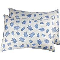 2 Toddler or Travel Pillowcases in Organic Cotton to Fit 13 x 18 and 14 x 19 Pillow, Turtle Print (Blue)