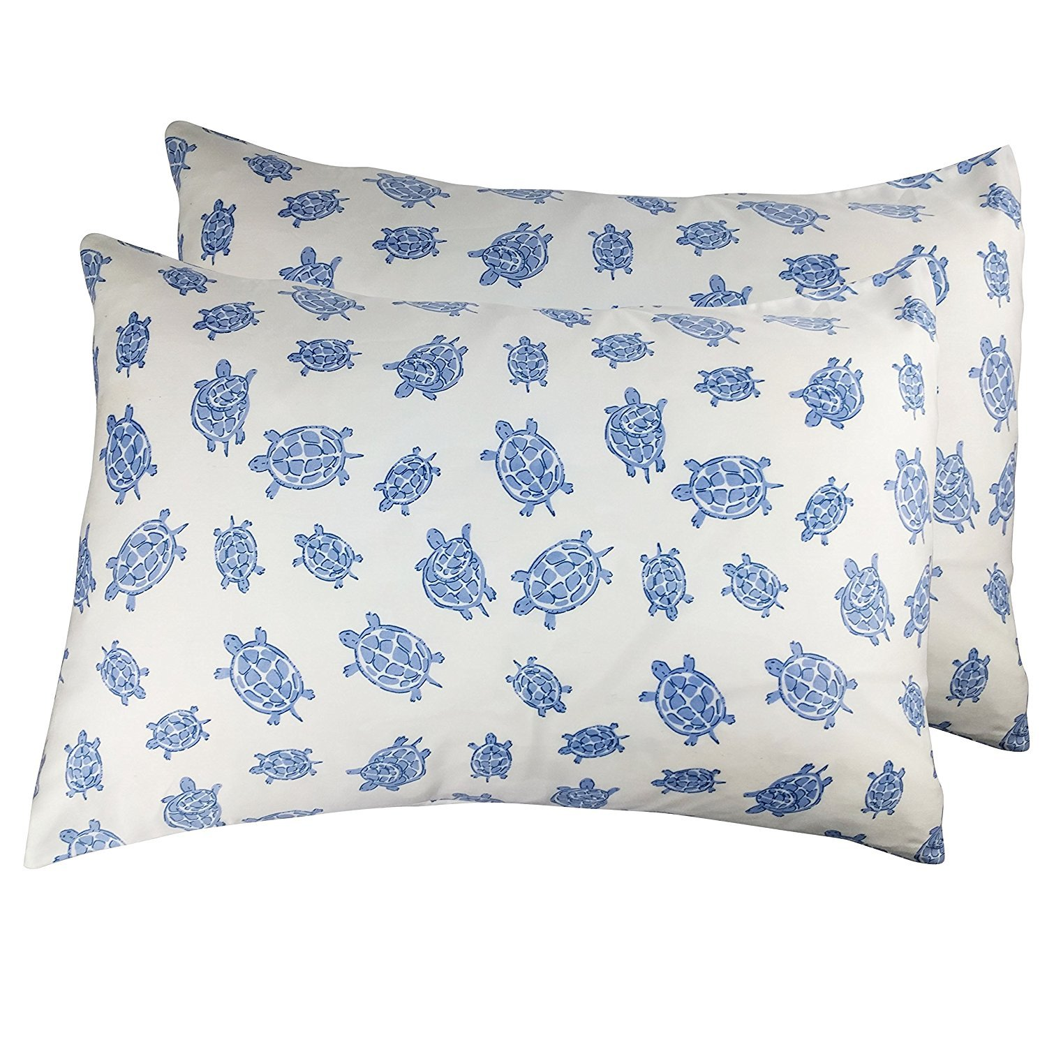 Green Turtle Print 2 Toddler or Travel Pillowcases in Organic Cotton to Fit 13 x 18 and 14 x 19 Pillow