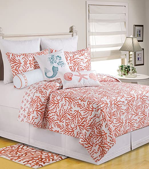 Christmas Tablescape Decor - Coral reef reversible seashell print twin quilt by C & F