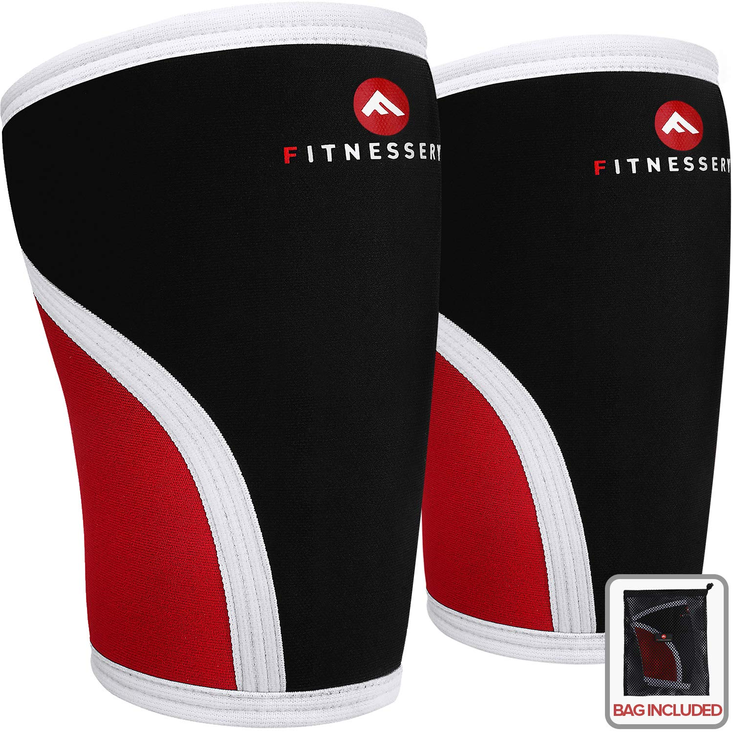 Fitnessery Knee Sleeves for Crossfit, Powerlifting, Weightlifting and Knee Support - 7mm Knee Sleeves - Knee Sleeves Crossfit - Knee Sleeves Powerlifting - Knee Compression Sleeve x 2 (Large)