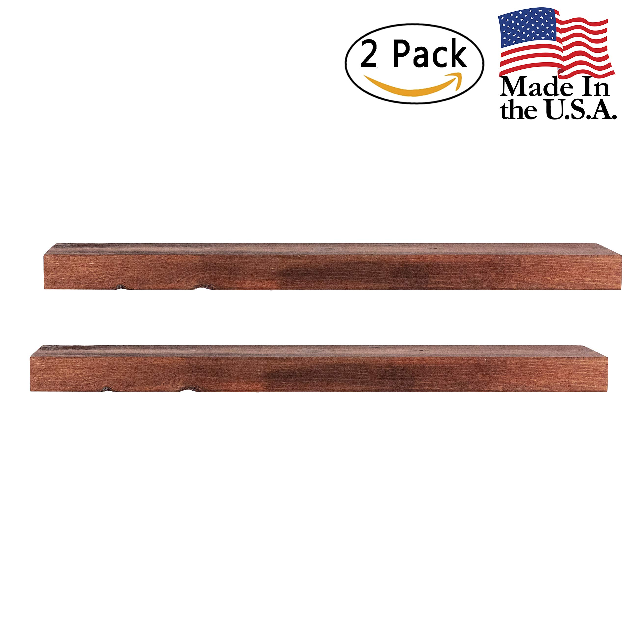 Floating Shelves Wall Mounted Shelf - Rustic Wood Decor Hanging for Bathroom Kitchen Bedrooms Living Room or Office Walls - Sturdy & Decorative Shelving Storage Rack - USA Made - 2 FT. Mahogany 2-Pack by US2U Displays (Image #1)