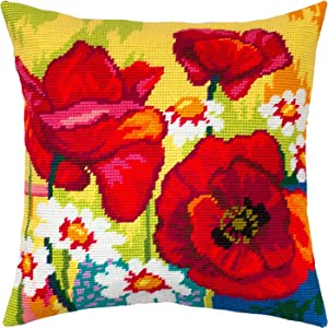 Still Life with Poppies and Daisies. Needlepoint Kit. Throw Pillow 16×16 Inches. Printed Tapestry Canvas, European Quality