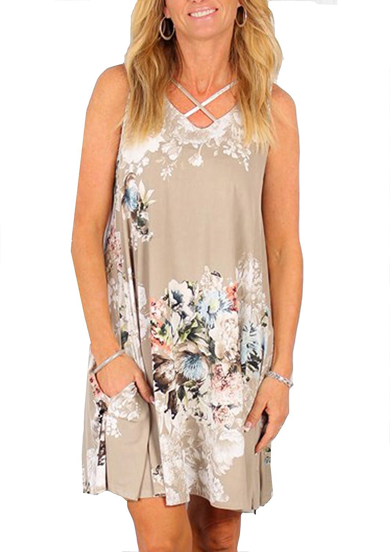 Yidarton Donna Estate Vestito Stampa Knielang Senza Maniche Rotondo Collo Beach Dress Estate Vestito Sciolto