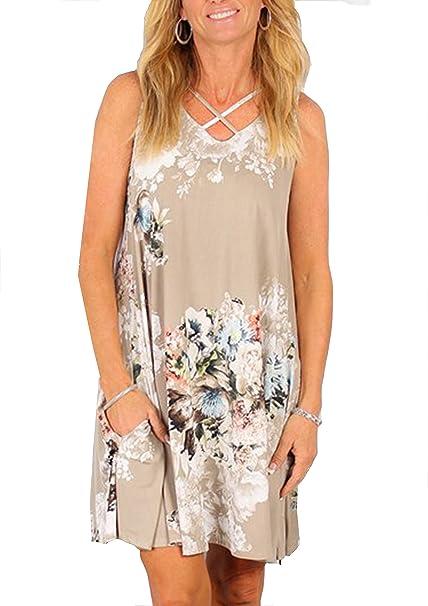 9a24e9277fa3dd Yidarton Donna Estate Vestito Scollo a V Stampa Knielang Senza Maniche  Beach Dress Sciolto Vestito Abito Da Sera (XL, beige): Amazon.it:  Abbigliamento