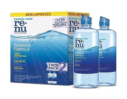 Bausch + Lomb ReNu Advanced Triple Disinfect Formula Multi-Purpose Eye Contact Lens Solution 12 Fluid Ounces (Pack of 2)