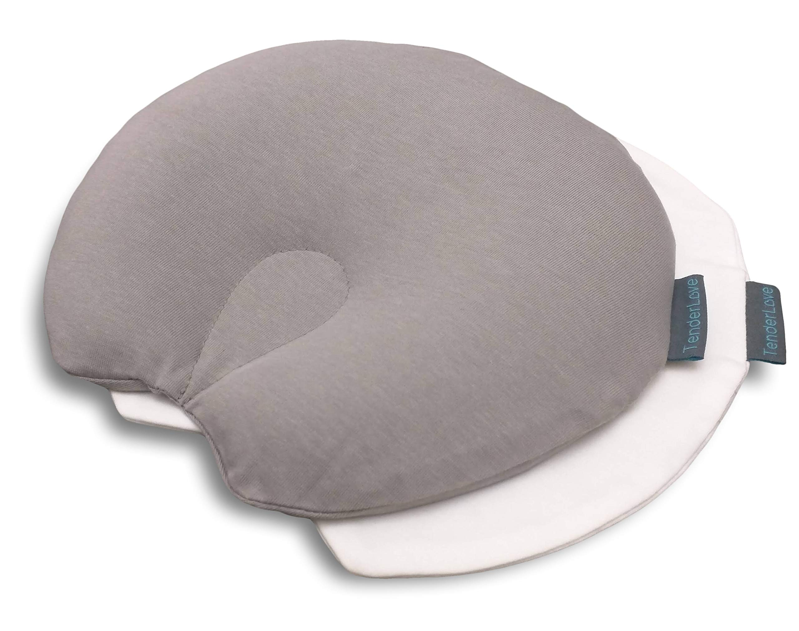 Tender Love Premium Head Shaping Baby Pillow - Memory Foam Baby Pillow - Reduce Flat Head Syndrome in Babies and Toddlers – Infant Pillow Properly Supports Head and Neck - Includes 2 Pillow Cases