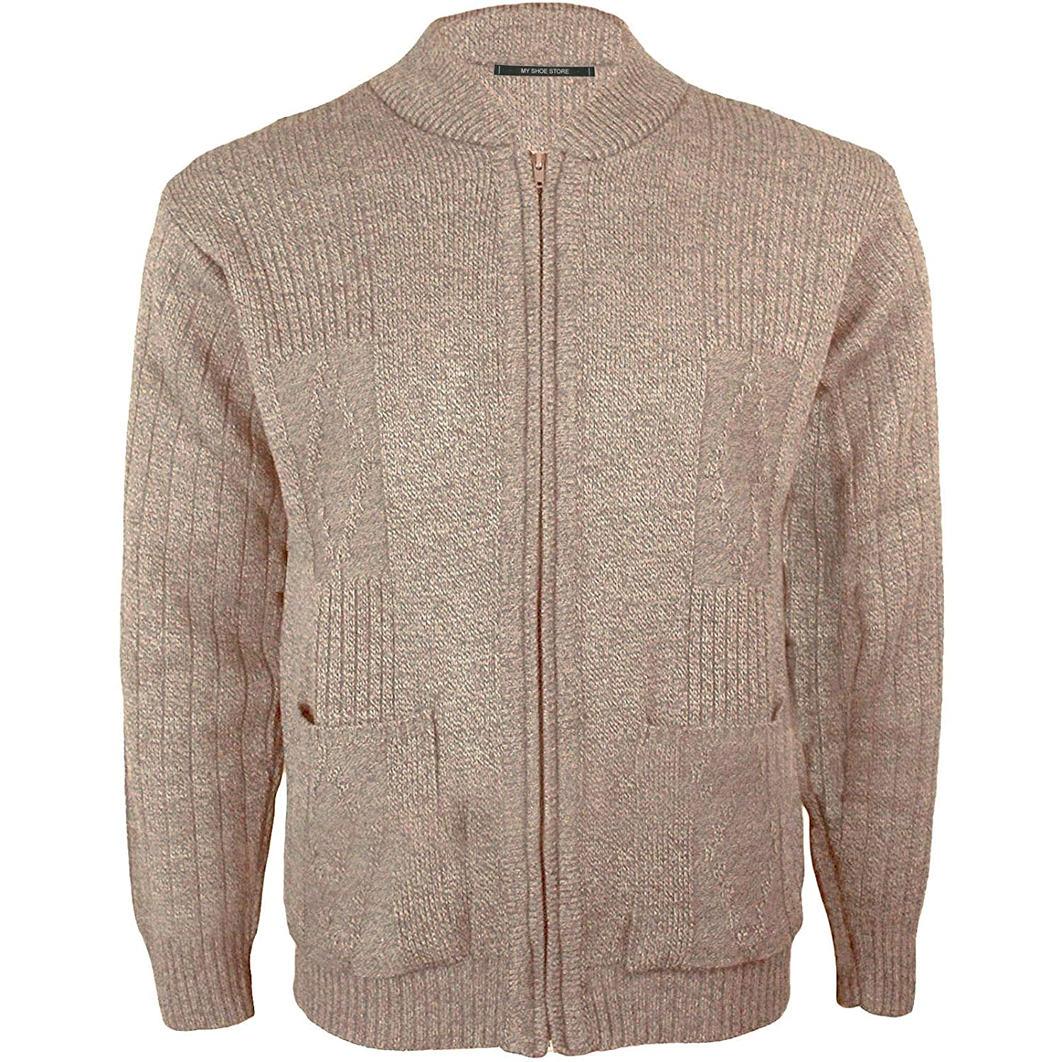 Mens Vintage Classic Style Zip Up Plain Knitted Grandad Cardigan Long Sleeve Knitwear Jumper with Pockets Jumper UK S-2XL