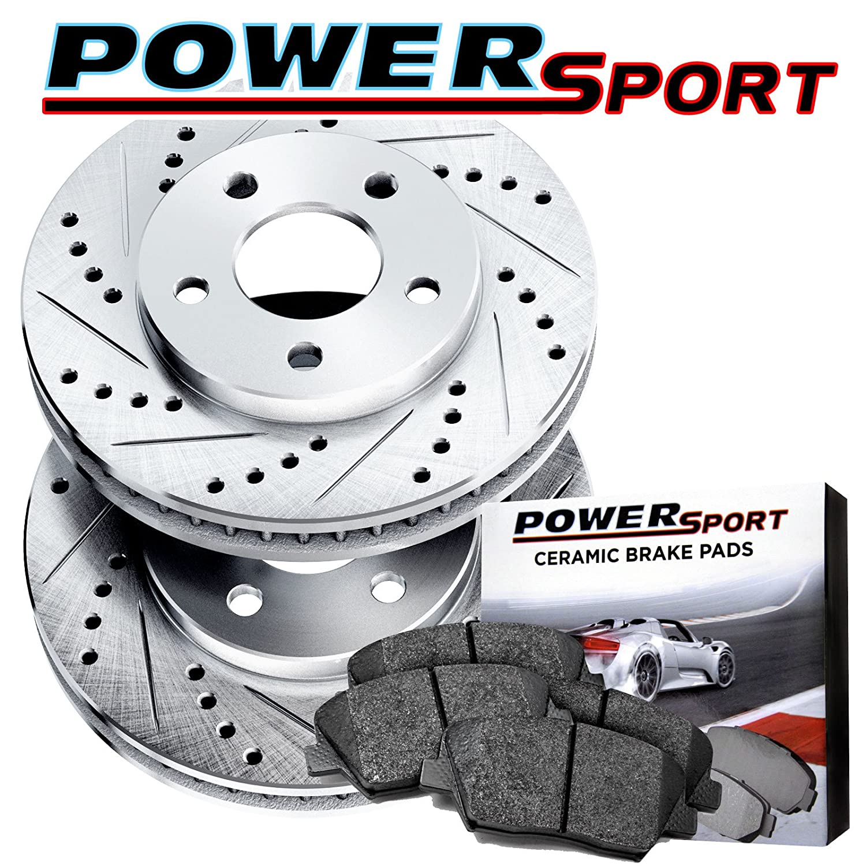 Fit 2013 Nissan Altima Rear PowerSport Drill Slot Brake Rotors+Ceramic Brake Pad