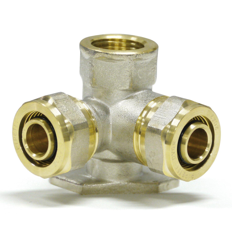 Pipetec Schraubfitting Wandwinkel doppelt 20x2 mm 1/2 Innengewinde fü r Mehrschicht-Verbundrohr, DVGW, UBA-konform, bis max.100° C Stabilo-Sanitaer