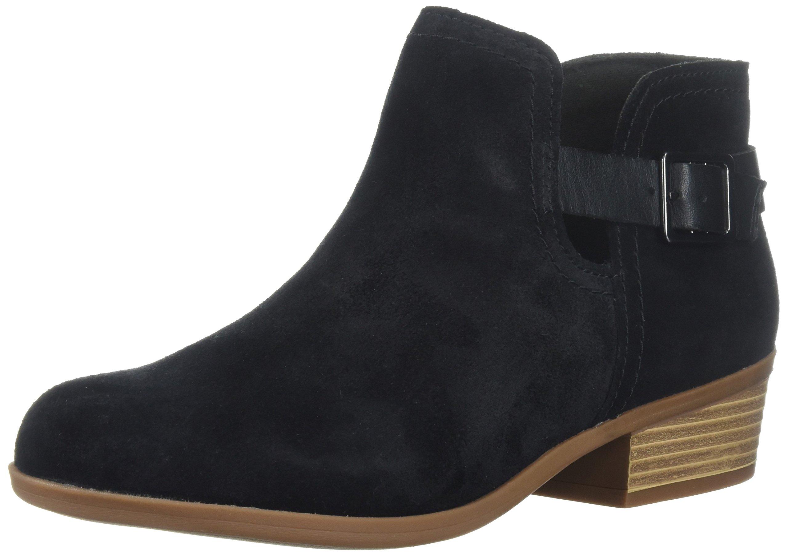 CLARKS Women's Addiy Carisa Ankle Boot, Black Suede, 9.5 Medium US