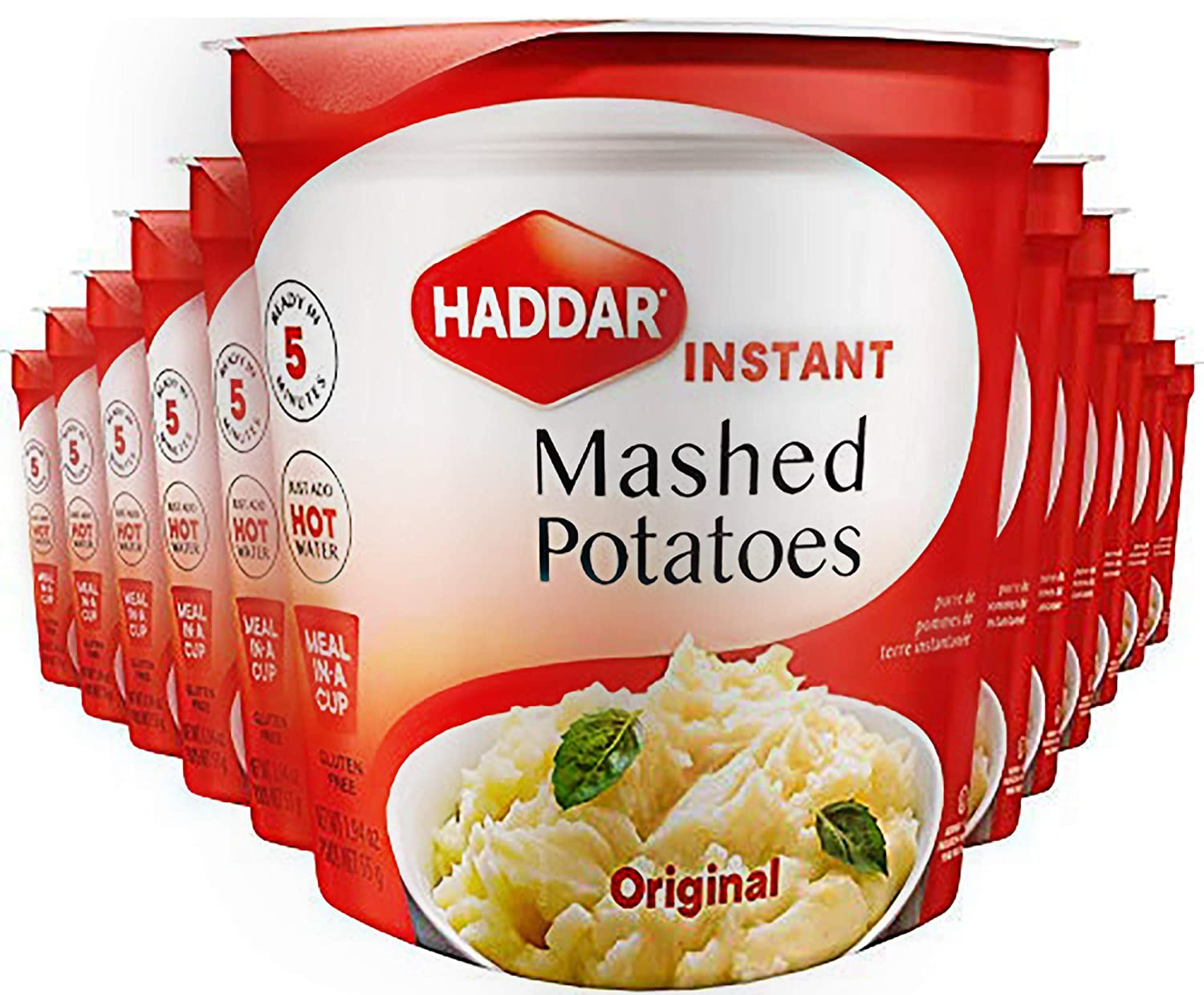 Haddar Gluten Free Original Instant Mashed Potatoes 1.94oz (12 Pack), Just Add Hot Water, Ready in 5 Minutes, Kosher for Passover