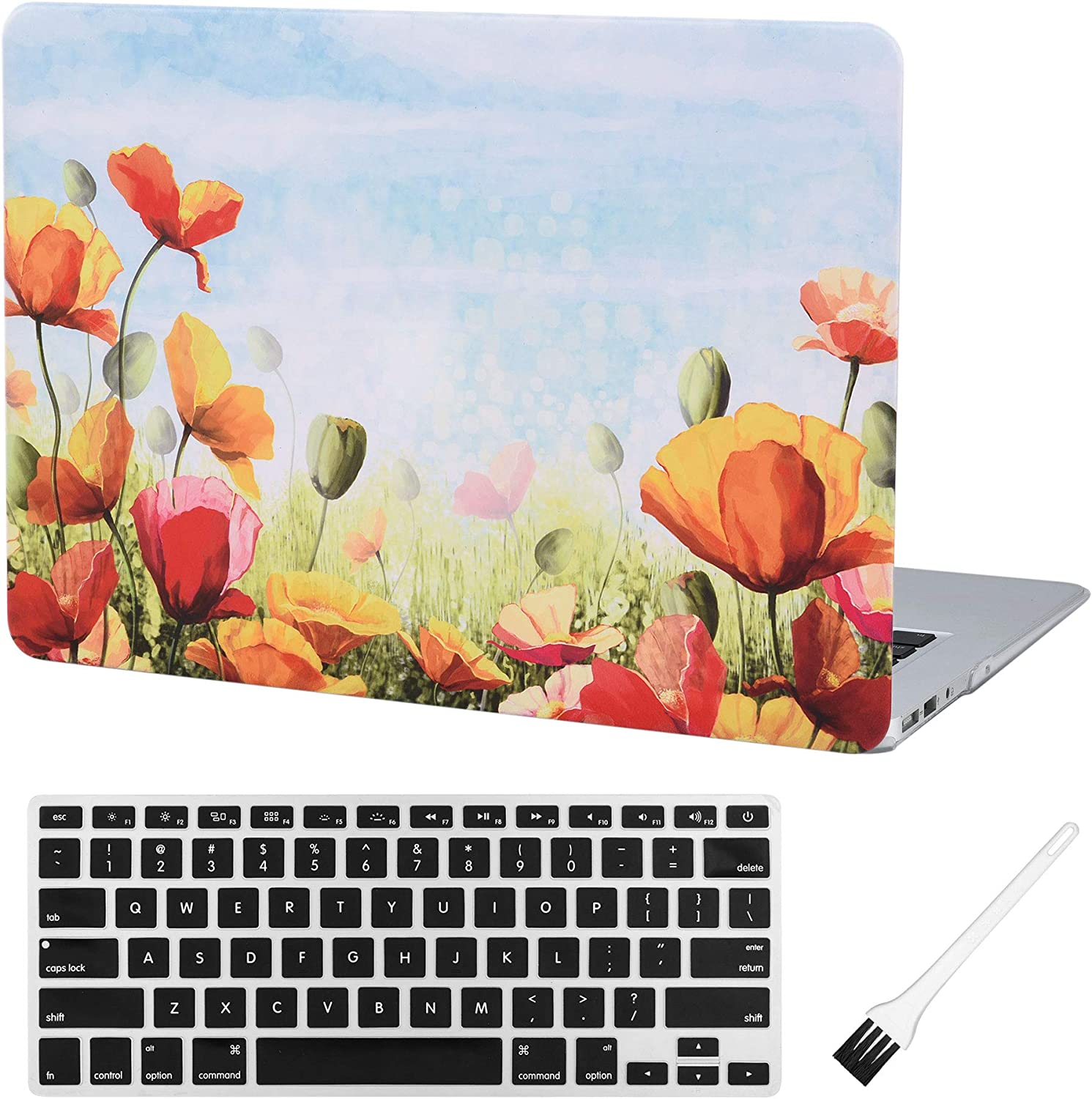 MacBook Air 13 inch Case A1369 A1466 Laptop Plastic Hard Case Matte Rubberized Cover (Old Version 2010-2017) with Silicone Keyboard Cover and Dust Brush (Shinny Flowers)