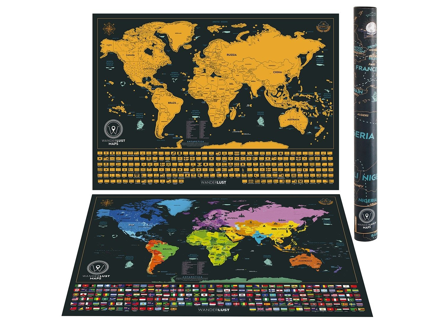 """Scratch off World Map   Detailed Cartography 24""""x16"""" Travel Size   Gold and Black World Map With Vibrant Colors and Hidden Iconic Landmarks of the World.Deluxe Tube by WanderLust Maps"""