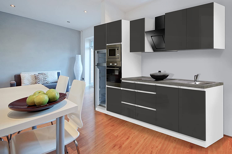 respekta Premium grifflose Küchenzeile Küche 335 cm grau Hochglanz Kühlkombi
