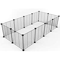Tespo Pet Playpen, Small Animal Cage Indoor Portable Metal Wire yd Fence for Small Animals, Guinea Pigs, Rabbits Kennel…