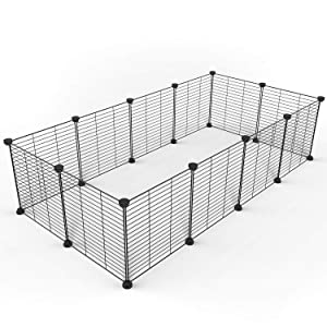 Tespo Pet Playpen, Dog Puppy Cat Pen, Small Animal Cage Indoor Portable Metal Wire Yard Fence for Small Animals, Guinea Pigs, Rabbits Kennel Crate Fence Tent Black 15 X 12 Inches