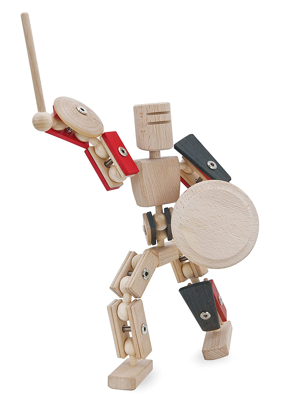 rewoodo Helden aus Holz Gladiator - Gladiator aus Holz - Holz Gladiator Actionfigur