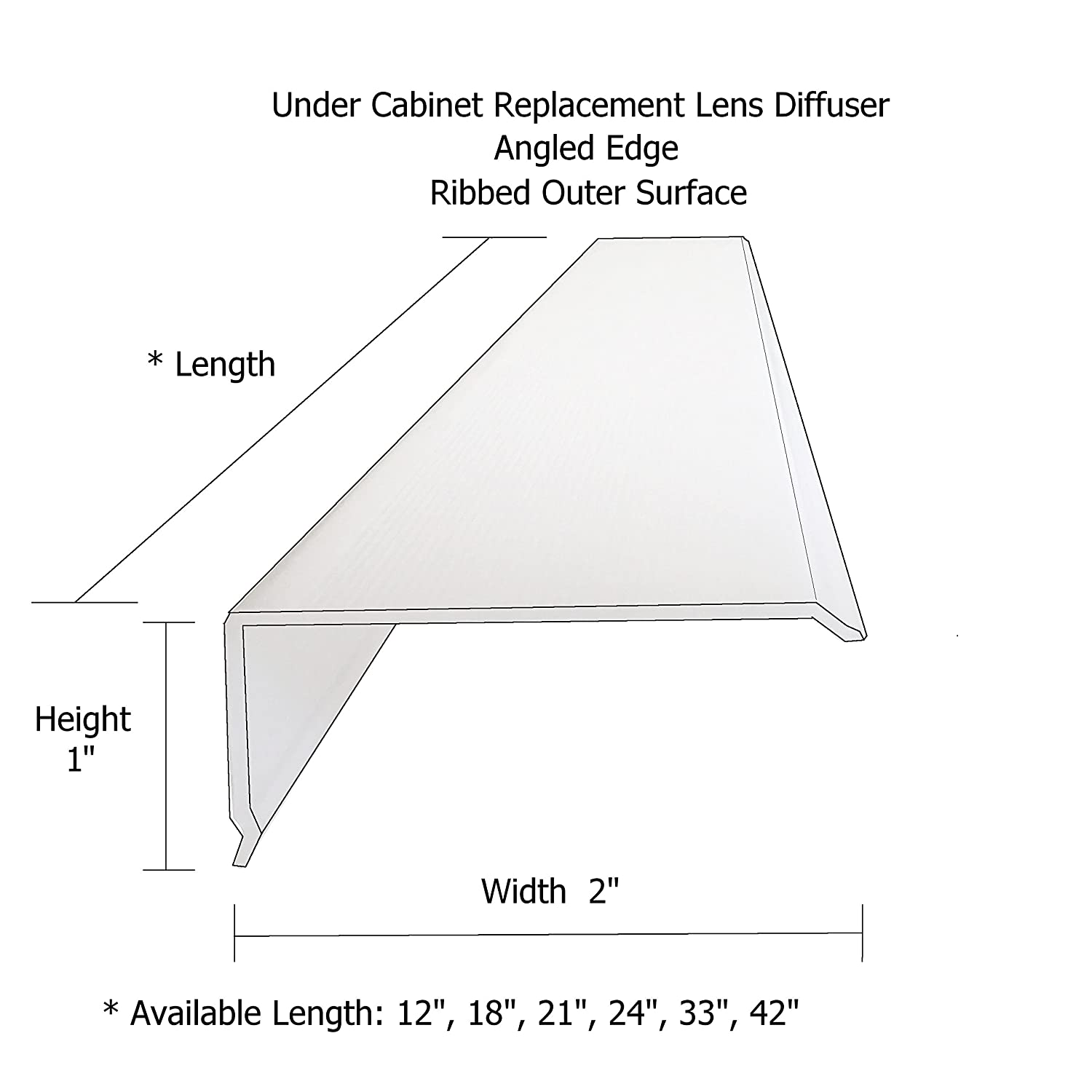 24 Lens Diffuser Under Cabinet Replacement Cover Narrow L-24 x W-2 x H-1 Angled Edge