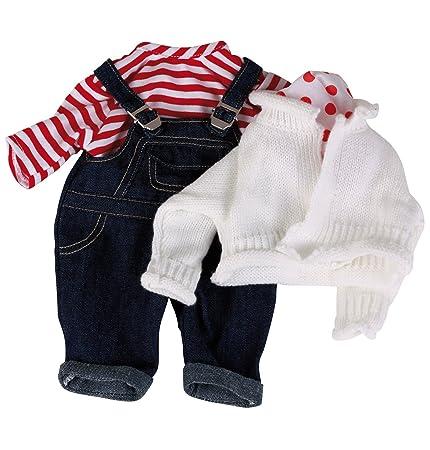 Götz 3401998 Babypuppen Latzhosen Set - Matrose Puppenbekleidung Gr. S - 4-teiliges Bekleidungs- und Zubehörset für Babypuppe
