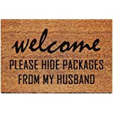 FAGGMY Funny Please Hide Packages from My Husband Entryway Outdoor Floor Mat with Heavy-Duty PVC Backing Non Slip Cursive Nat