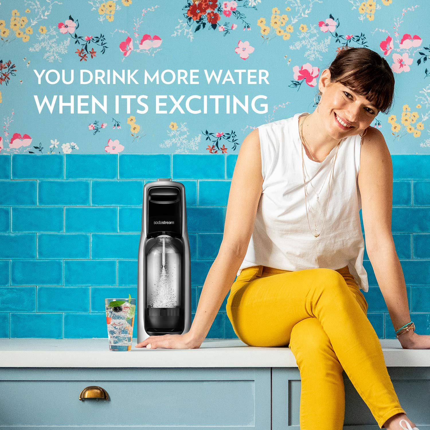 SodaStream Jet Sparkling Water Maker Bundle (Silver) with CO2, BPA free Bottles, and 0 Calorie Fruit Drops Flavors by sodastream (Image #5)