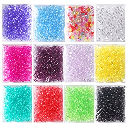 3159955470317 Amazon.com  OPount 12 Pack Colorful Fishbowl Beads for Crunchy Slime 12.7  Ounces Plastic Vase Filler Beads Fish Bowl Beads for Slime Making Art DIY  Craft  ...