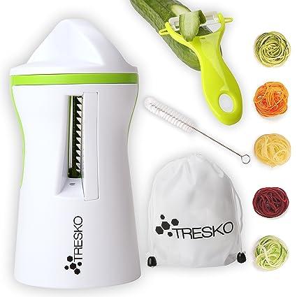 TRESKO® Cortador manual en espiral cortador de verdura pelador de pepinos pelador de zanahoria para