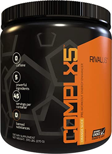 Rivalus Complx5 45 Serving Pre Workout Powder, Orange, 0.7 Pound
