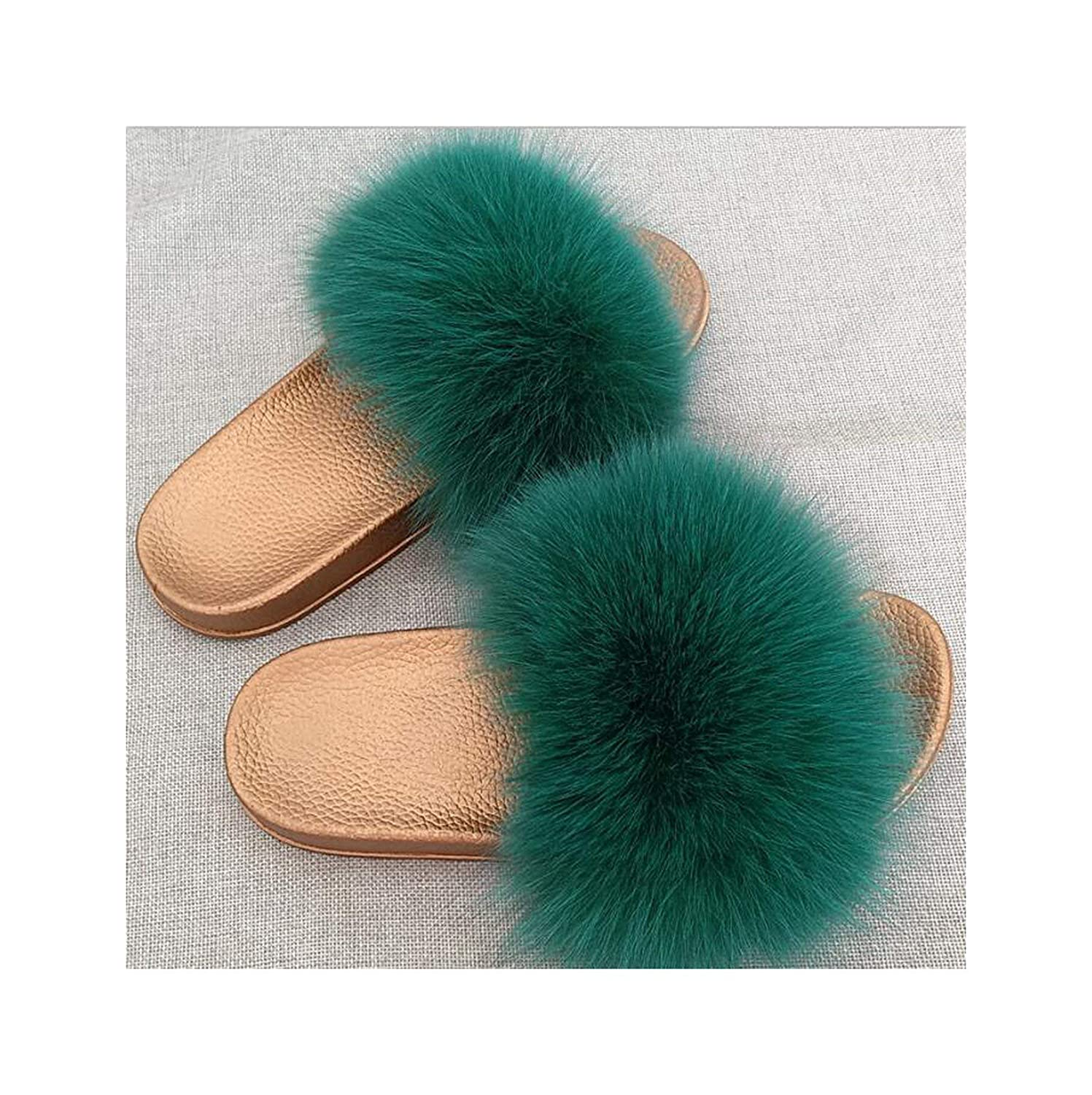 15 Zalin Women's Summer Genuine Fox Fur Slippers PVC Flat Indoor Non-Slip Slippers Furry Slippers