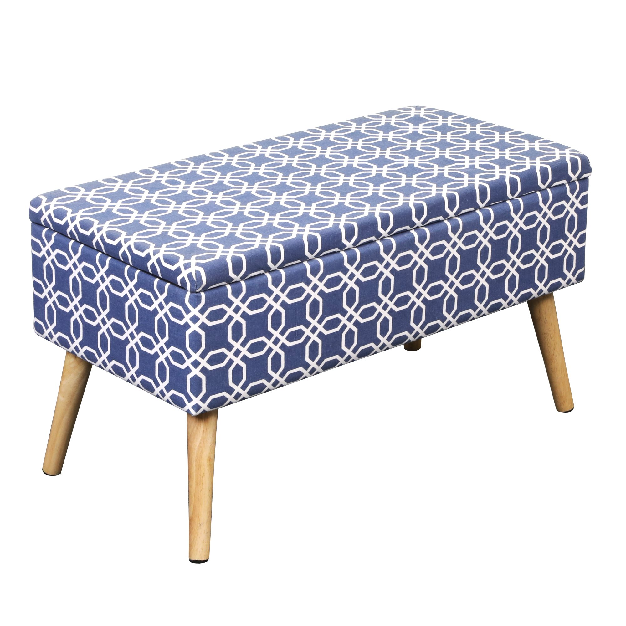 Otto & Ben 30'' Storage Bench - Mid Century Ottoman with EASY LIFT Top, Upholstered Shoe Ottomans Seats for Entryway and Bedroom, Octagon Blue