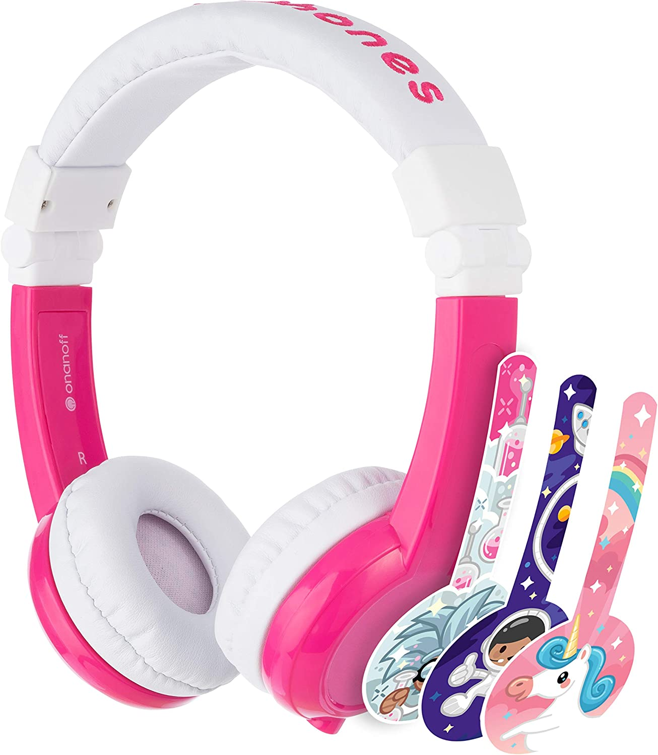 ONANOFF BuddyPhones Explore Foldable, Volume-Limiting Kids Headphones with Travel Bag, Built-In Audio Sharing Cable with Mic, Compatible with Fire, iPad, iPhone, and Android Devices, Pink