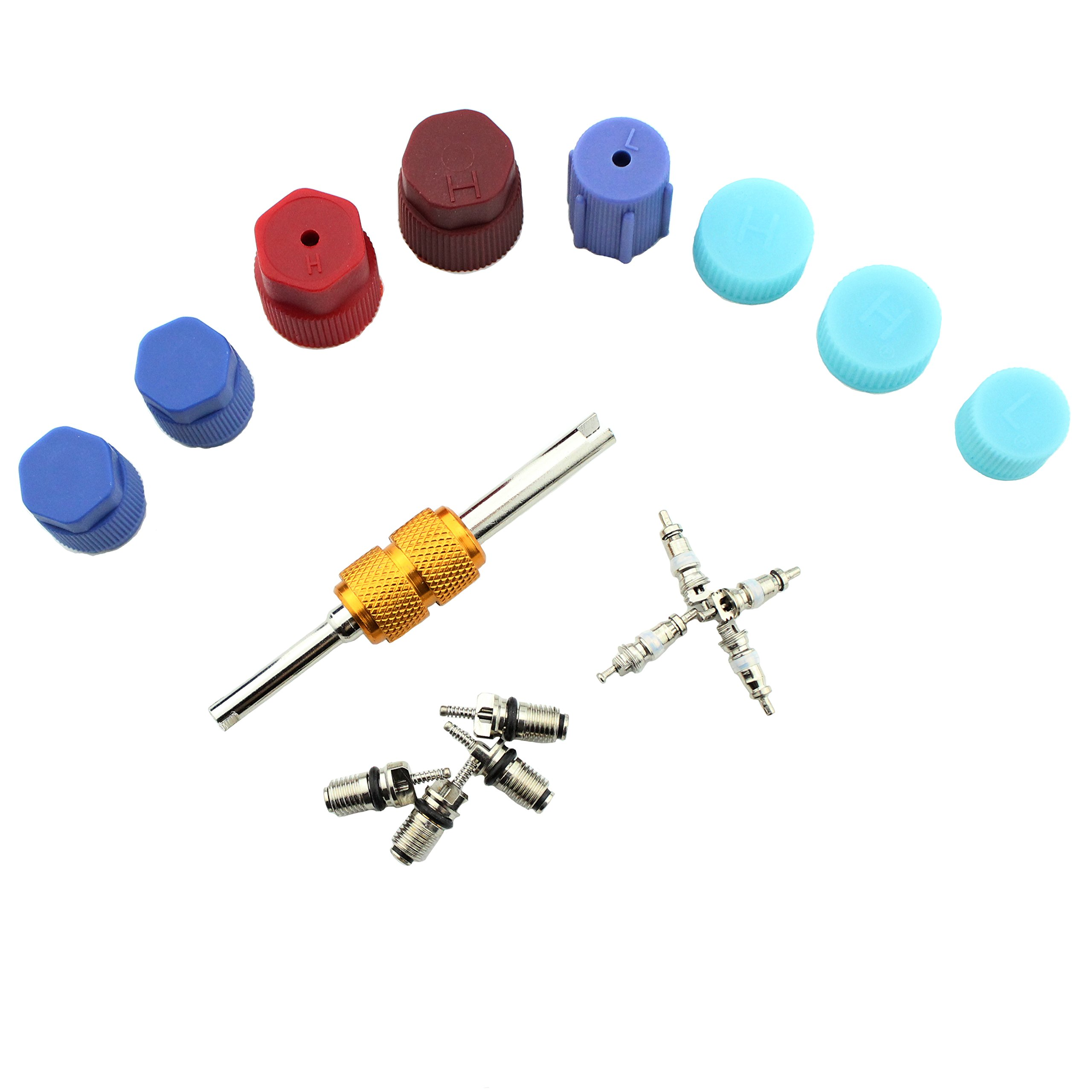 Air Conditioning Valve Core Kit | Car & Home AC R12 R134a Teflon Seal Refrigeration Schrader Valve Core with Valve Stem Core Rmover Tool Air Conditioning System Seal Caps Kit (A/C Kit-)