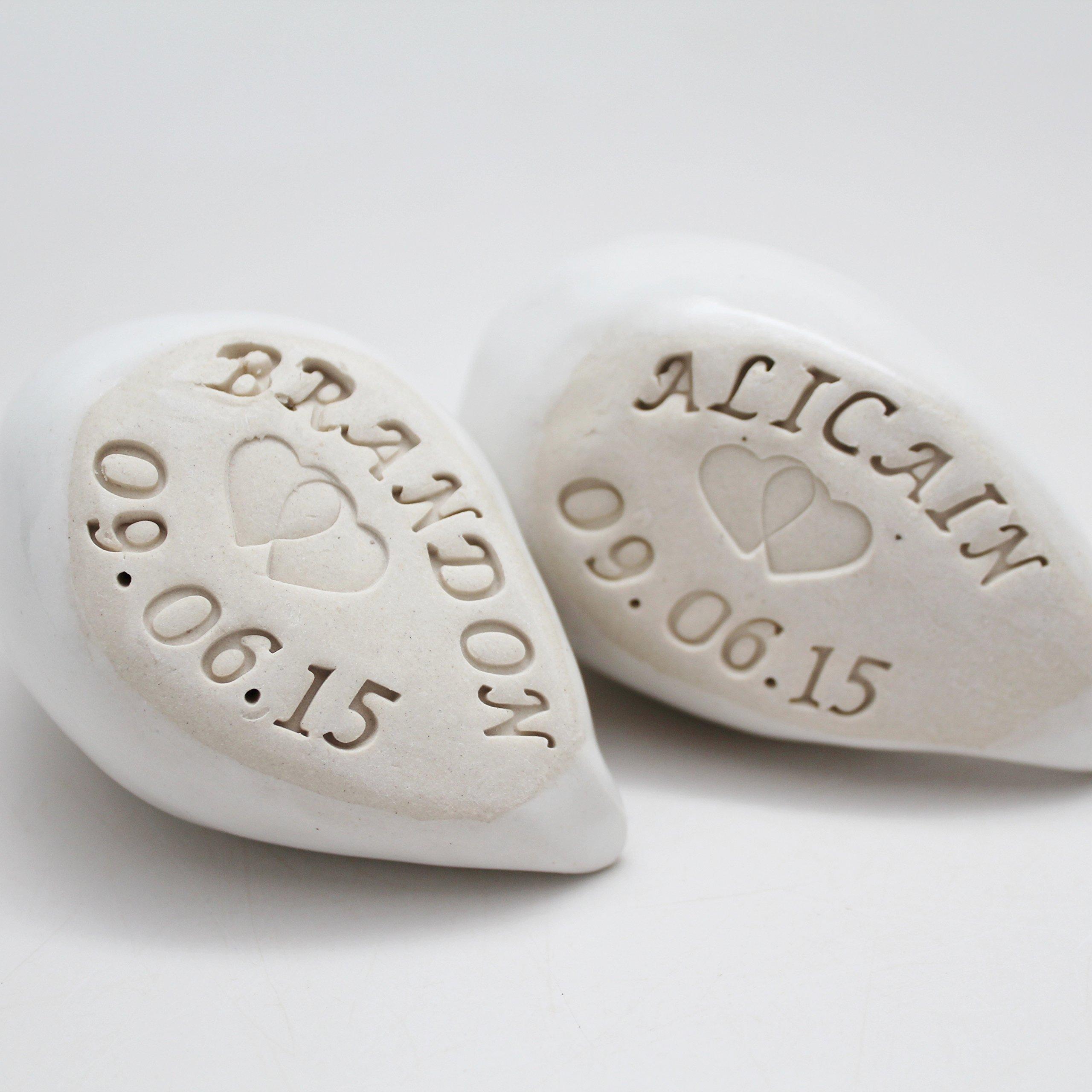 Personalized Porcelain Cake Topper Birds, Anniversary Gift, Handmade Pottery Cake Topper