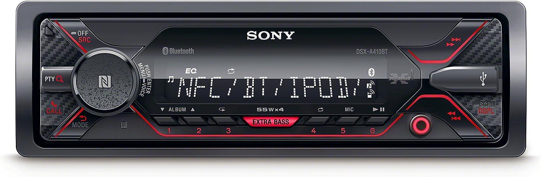 Sony DSXA410BT, Receptor Multimedia para Coche (Conexión Bluetooth Doble, NFC, Ecualizador de 10 Bandas, Función Karaoke, 4 X 55 W, MP3 y Flac, Extra Bass, USB, AOA 2.0), Negro