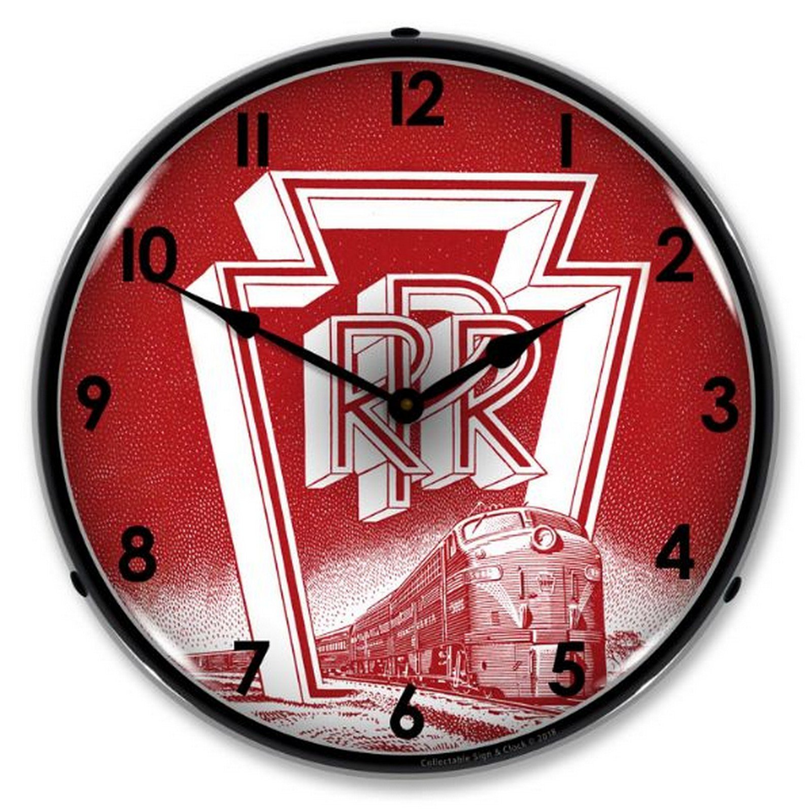 Pennsylvania Railroad Lighted Wall Clock by Collectable Sign and Clock