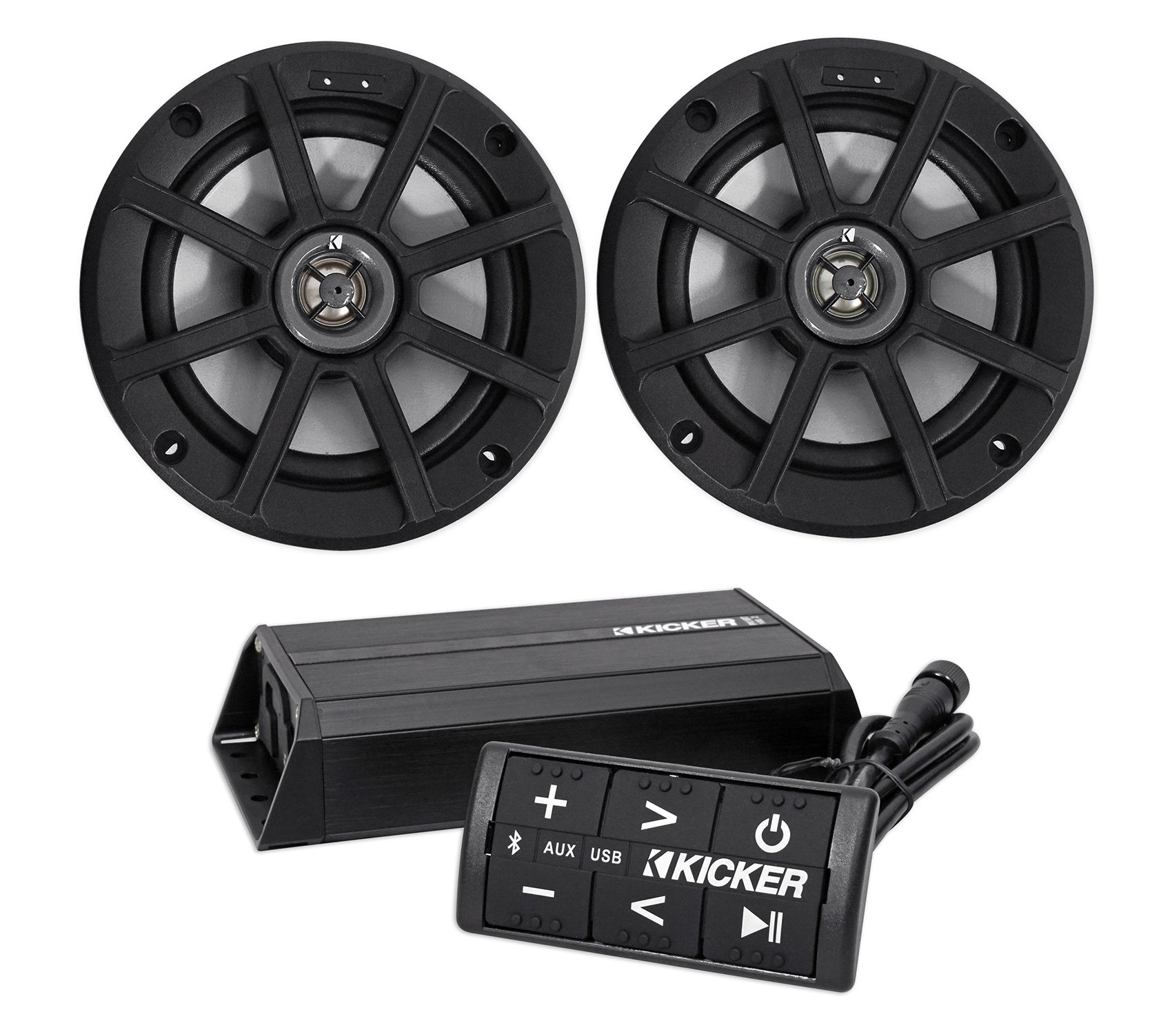 2) Kicker 42PSC652 6.5'' Motorcycle/ATV/UTV/RZR Speakers+Bluetooth Amp+Controller by Kicker