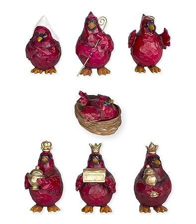 Red Cardinal Birds Nativity Set 7 Pc Figurine Set