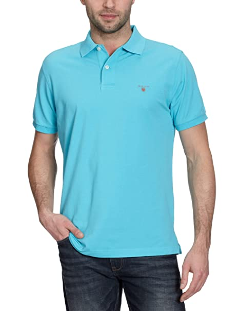GANT Solid Pique SS Rugger, Polo para Hombre, Turquesa (Turquoise ...