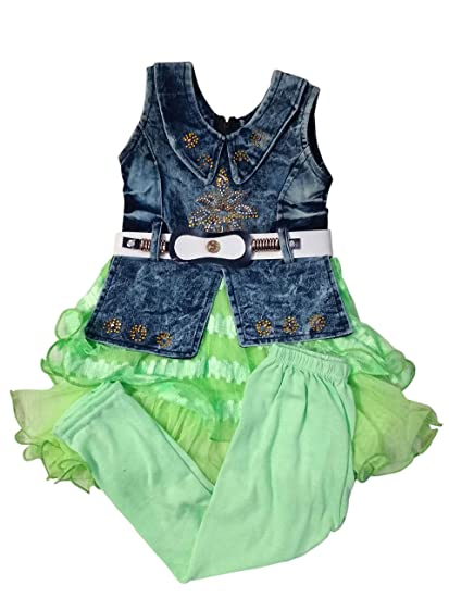 4186b5adc Designer Small Girl Kids Wear Dangri Frocks Party wear Baby Girl ...